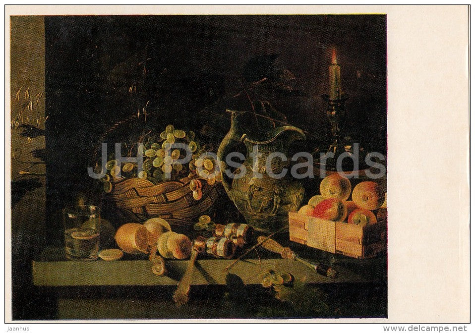 painting by I. Khrutsky - Still Life with Candle - grape - apple - fruits - Russian art - 1975 - Russia USSR - unused - JH Postcards