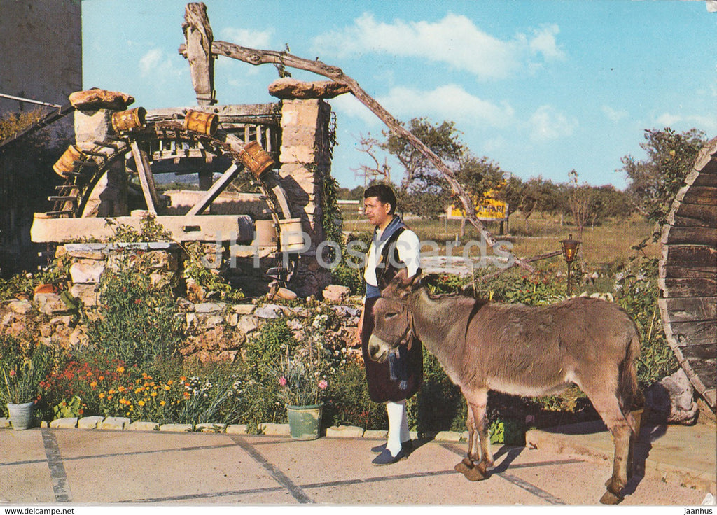 Mallorca - Noria tipica - Typical Noria - donkey - animals - folk costumes - 47 - 1978 - Spain - used - JH Postcards