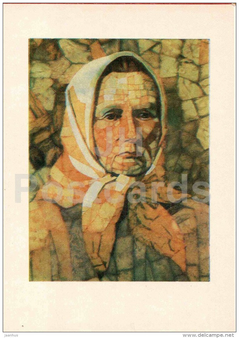The Writer Zemaite by G. Blazyte-Guntiene - woman - art - Amber - Gintaras - 1973 - Lithuania USSR - unused - JH Postcards