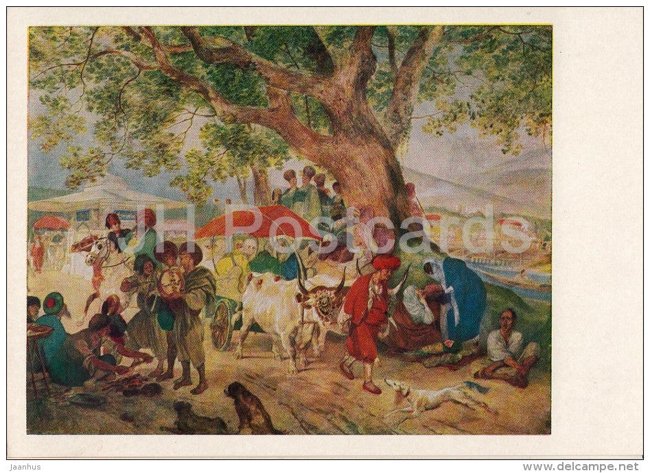 painting by K. Bryullov - Sweet Waters near Constantinople , 1849 - dog - Russian art - 1957 - Russia USSR - unused - JH Postcards