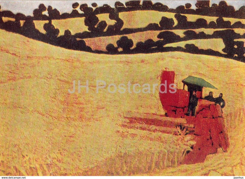 painting by Andre Fougeron - Mechanical Harvest - harvester - French art - 1967 - Russia USSR - unused - JH Postcards