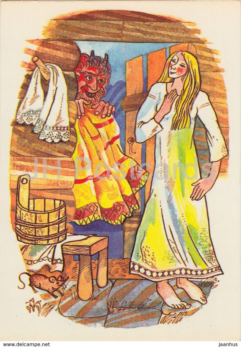 by I. Raudsepp - Orphan and peasant daughter - folk costumes - Estonian Fairy Tales - 1979 - Estonia USSR - unused - JH Postcards