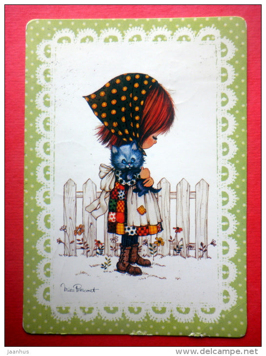 illustration by Miss Petticoat - cat - kitten - girl - Jotuni - Germany - sent from Finland Turku to Estonia USSR 1980 - JH Postcards