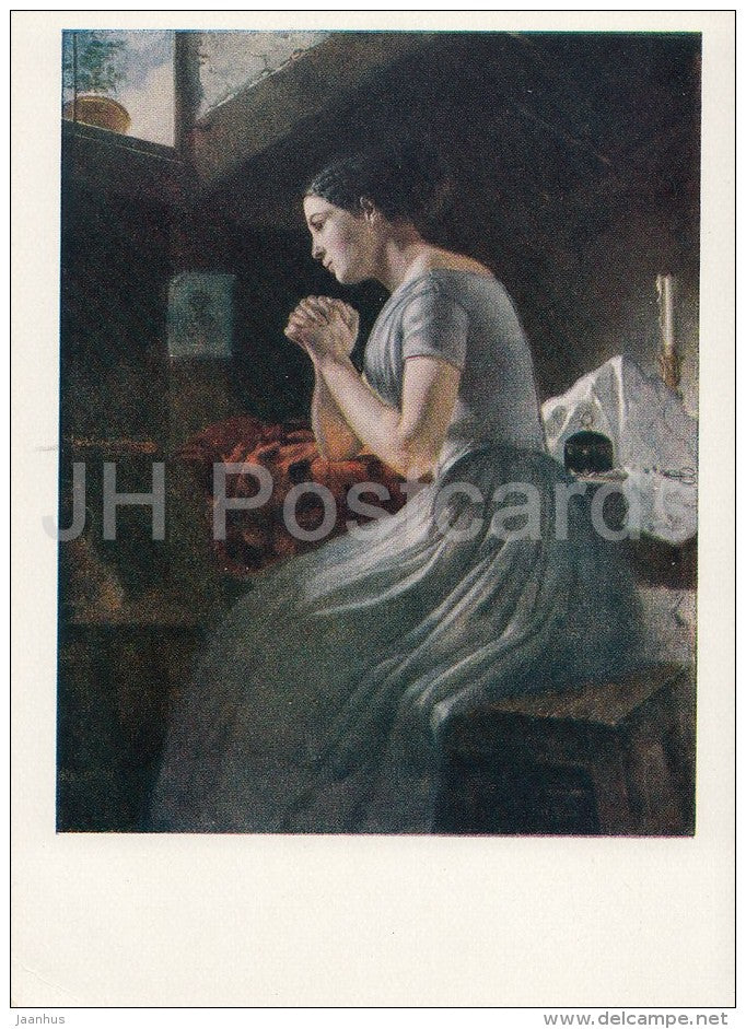 painting by R. Felitsin - Widow , 1852 - praying woman - Russian art - 1959 - Russia USSR - unused - JH Postcards