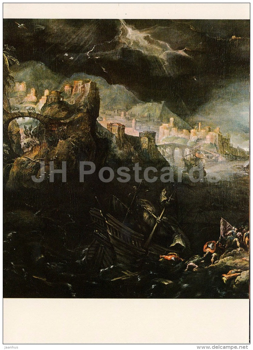 painting by Frederik van Valckenborch - St. Paul Shipwreck on Malta - German art - large format card - Czech - unused - JH Postcards
