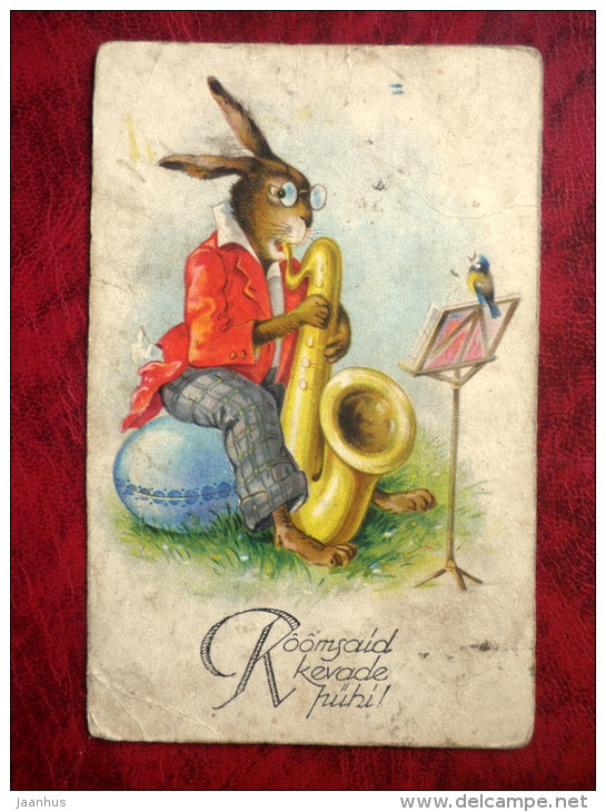 Easter greeting card - hare - saxophone - bird - music - 1920s-1930s - Estonia - used - JH Postcards