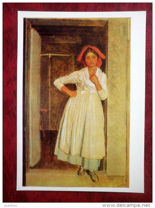 Painting by A. Ivanov - Albanian girl in doorway - russian art - unused - JH Postcards