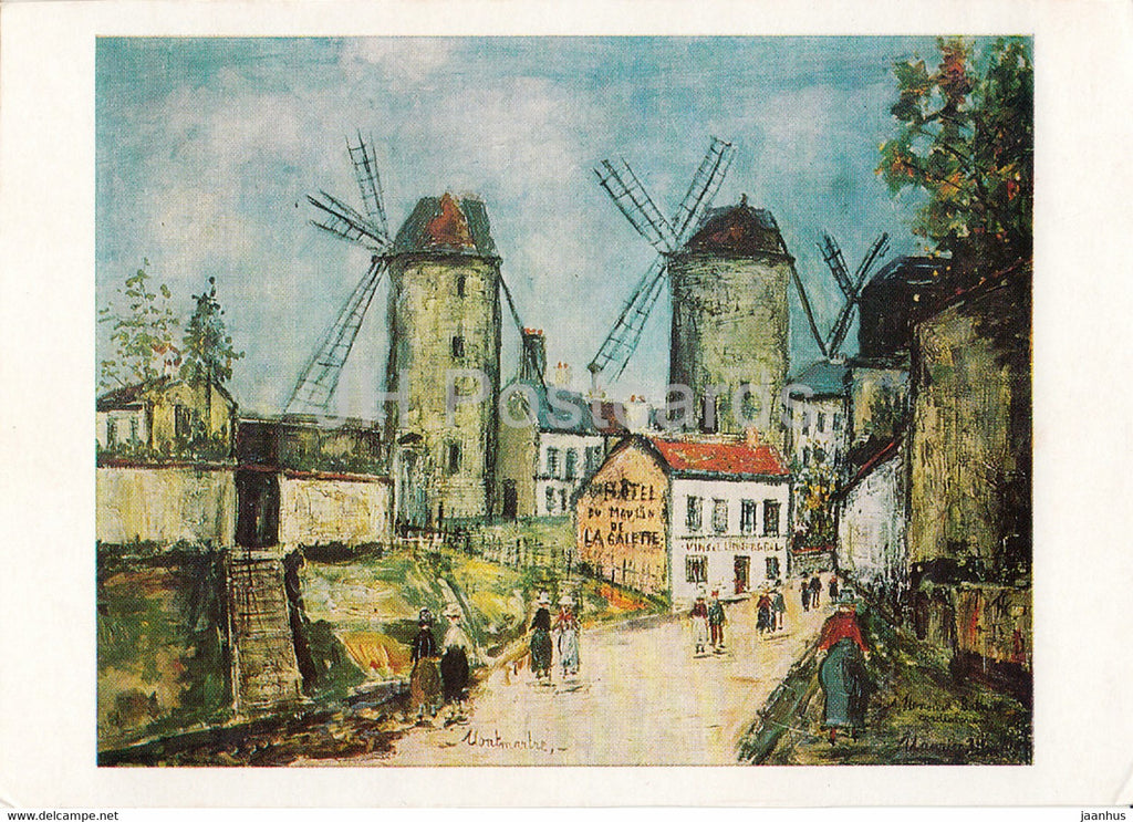 painting by Maurice Utrillo - Muhlen im Wind - windmill - French art - 1971 - Germany - unused - JH Postcards
