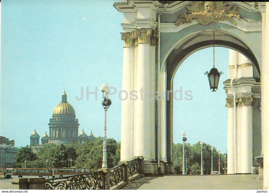 Leningrad - St Petersburg - St. Isaac's Cathedral - bus Ikarus - postal stationery - 1985 - Russia USSR - unused - JH Postcards