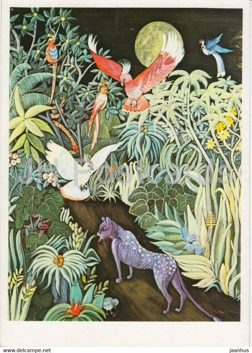 painting by Inge Sigrid Micha Koeck - Urwald bei Nacht - birds - 1781 - art - Germany DDR - unused - JH Postcards