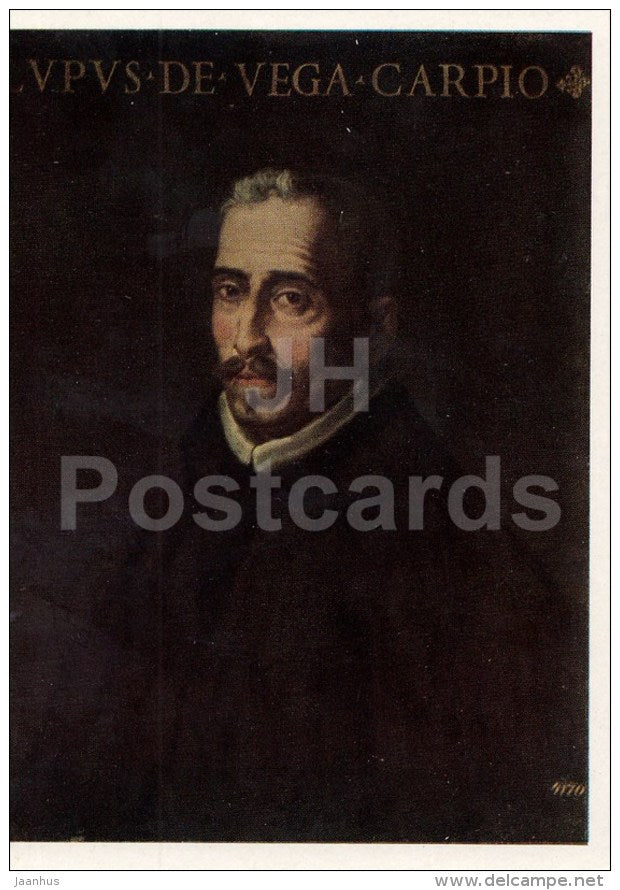 painting by Francisco Ribalta - Portrait of Lope de Vega - Spanish Art - 1963 - Russia USSR - unused - JH Postcards