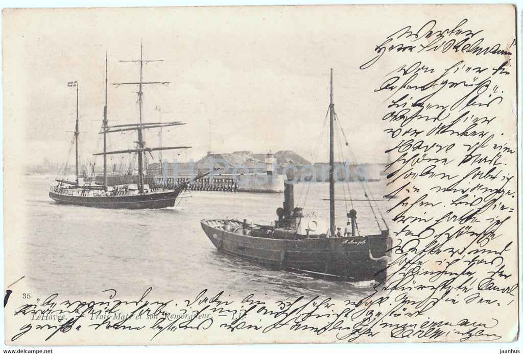 Le Havre - Trois Mats et son Remorqueur - sailing ship - boat - 35 - old postcard - 1902 - France - used - JH Postcards