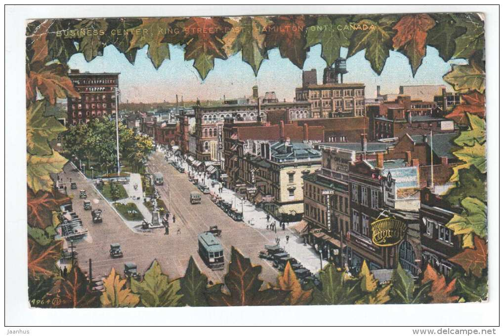 Business Center , King Street East , Hamilton Ontario - tram - old cars - 14964 - sent to Estonia 1932 - Canada - used - JH Postcards