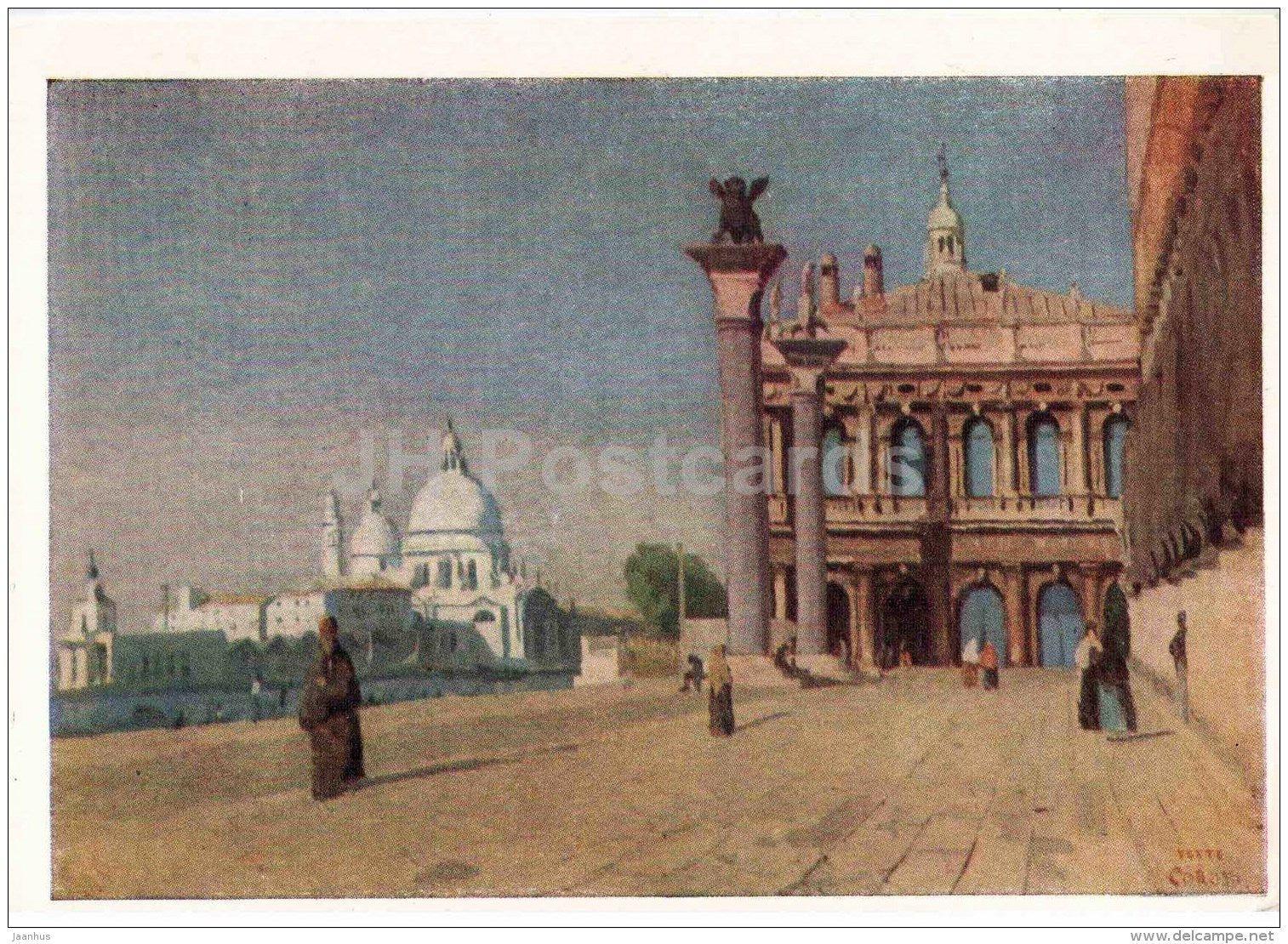 painting by Jean-Baptiste-Camille Corot - Morning in the Venice - Venezia - French art - 1957 - Russia USSR - unused - JH Postcards