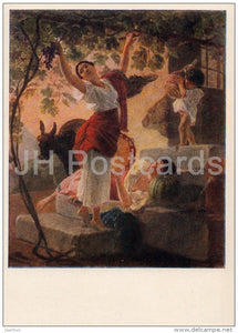 painting by K. Bryullov - Girl Gathering Grapes in the vicinity of Naples - Russian art - 1956 - Russia USSR - unused - JH Postcards
