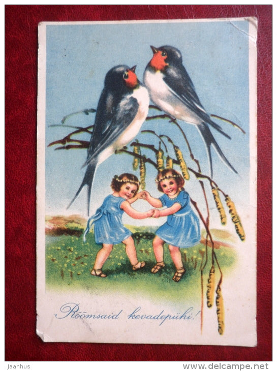 Easter Greeting Card - swallow - birds - children - circulated in 1938 - Estonia - used - JH Postcards
