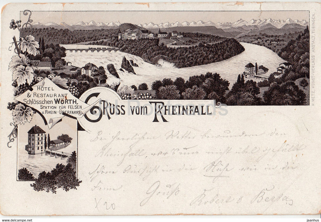 Gruss vom Rheinfall - hotel restaurant schlosschen Worth - old postcard - 1894 - Switzerland - used - JH Postcards