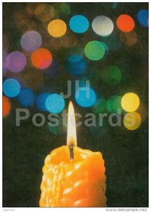 New Year Greeting card - 1 - candle - 1977 - Estonia USSR - used - JH Postcards