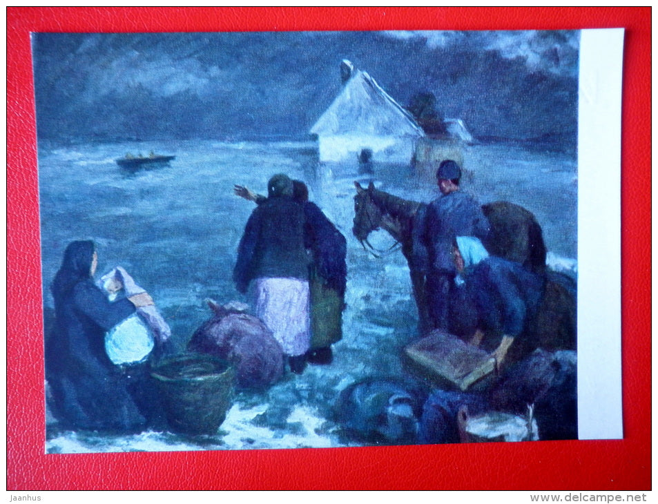 painting by I. Imre . The Flood - horse - hungarian art - unused - JH Postcards