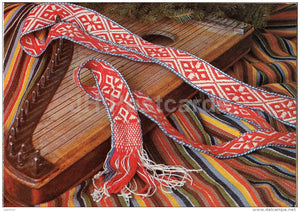 New Year Greeting card - 2 - belt of folk costume - Estonian zither - 1984 - Estonia USSR - used - JH Postcards