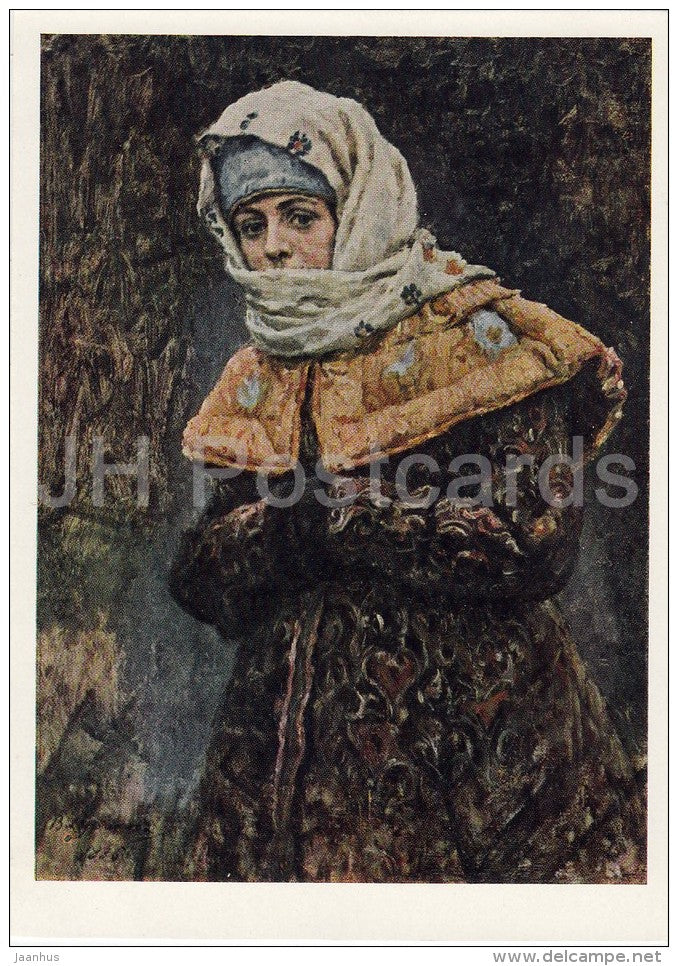 painting by V. Surikov - Boyaryshnia in yellow coat and white kerchief - Russian art - 1966 - Russia USSR - unused - JH Postcards