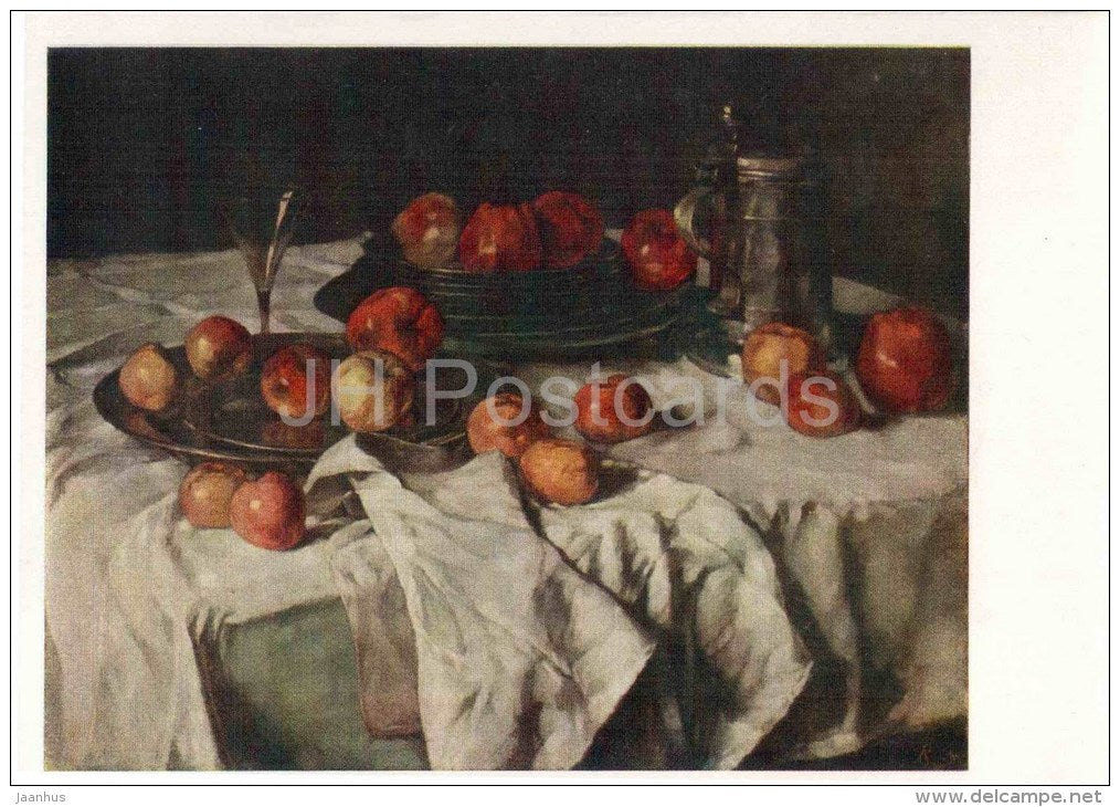 painting by Carl Schuch - Still Life with Apples - austrian art - unused - JH Postcards