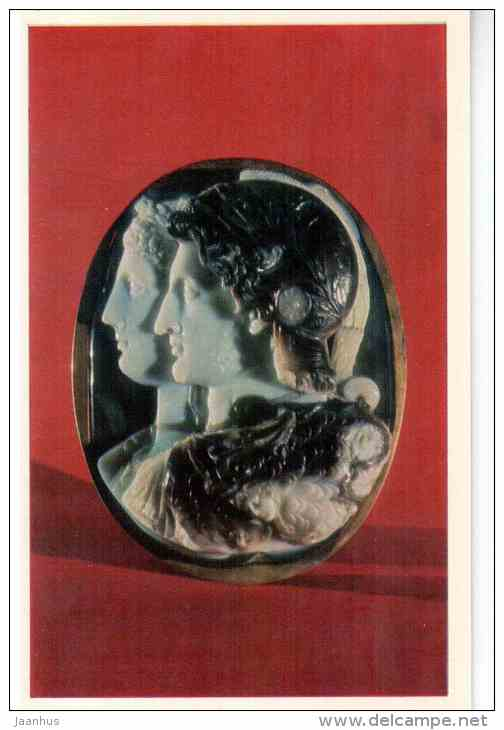 The Gonzaga Cameo , 3rd century BC Egypt - sardonyx - Art of Ancient Greek and Rome - 1972 - Russia USSR - unused - JH Postcards