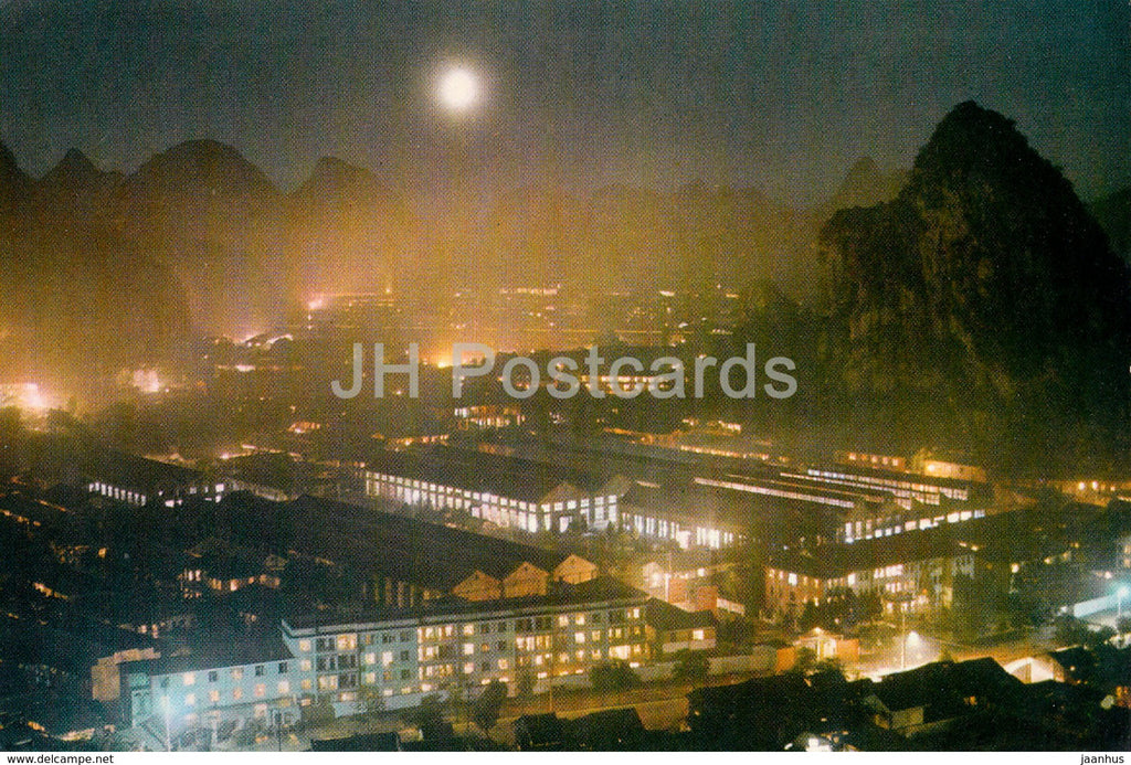 Kweilin - Guilin - Kweilin city by night - 1973 - China - unused