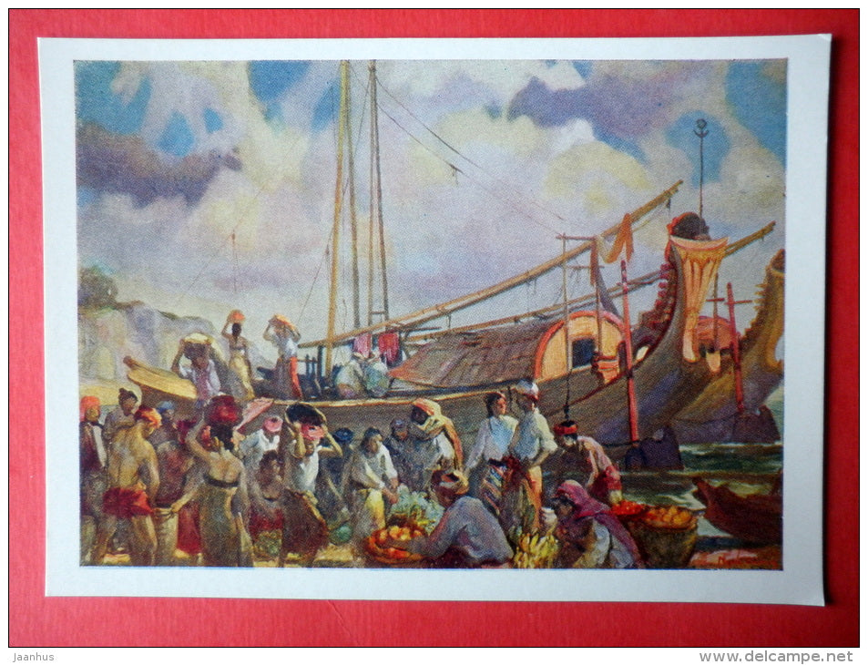 painting by Ngwe Gong - On the Pier , XX - sailing boat - Birma - burmese art - unused - JH Postcards