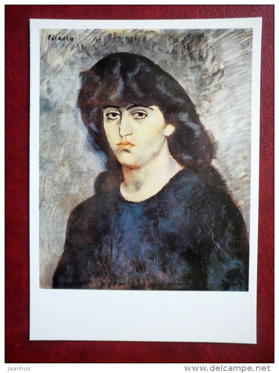 painting by Pablo Picasso - Portrait of Suzanne Broch - spanish art - unused - JH Postcards