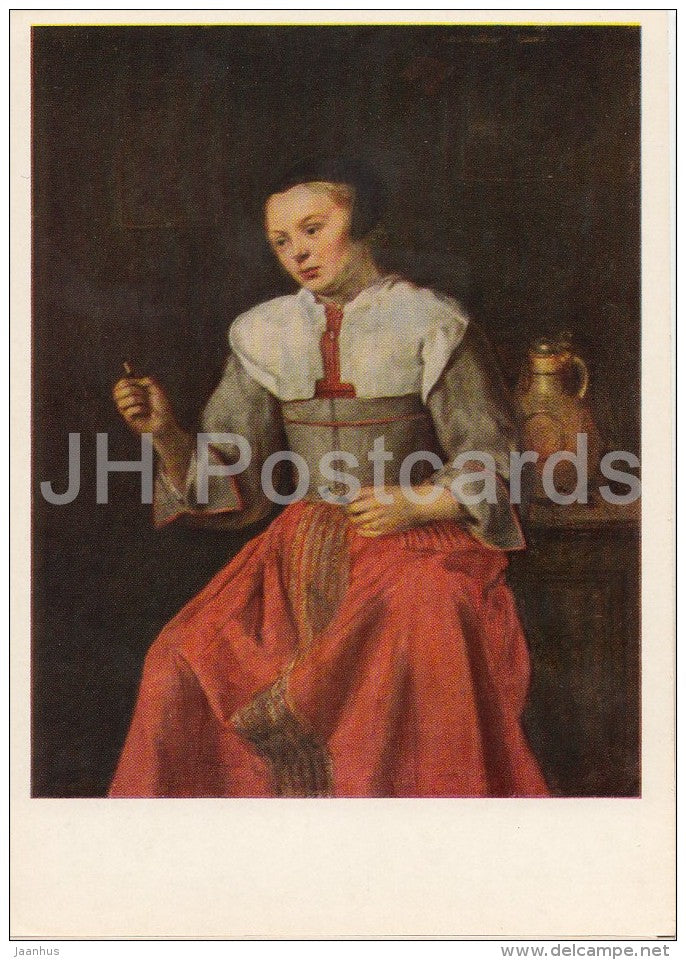 painting by Gabriel Metsu - Lace-Maker - woman - French art - 1969 - Russia USSR - unused - JH Postcards