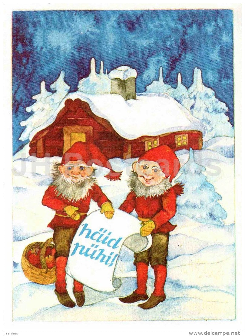 Christmas Greeting Card by Maili Lepp - gnomes - winter house - illustration - 1990 - Estonia USSR - used - JH Postcards