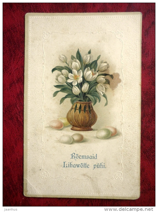 Easter greeting card - embossed- eggs - crocus - flowers - circulated in 1913 - tsarist Russia, Estonia - used - JH Postcards
