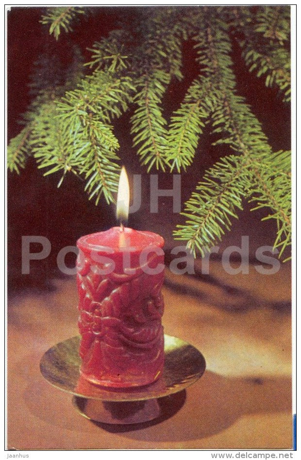 New Year Greeting card - red candle - 1972 - Estonia USSR - used - JH Postcards