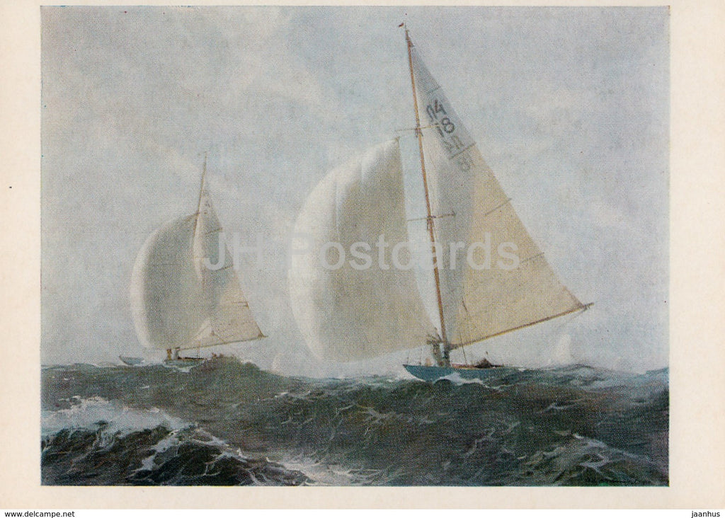 painting by E. Kalnins - The Seventh Baltic Regatta - Sport - Soviet art - 1978 - Russia USSR - unused