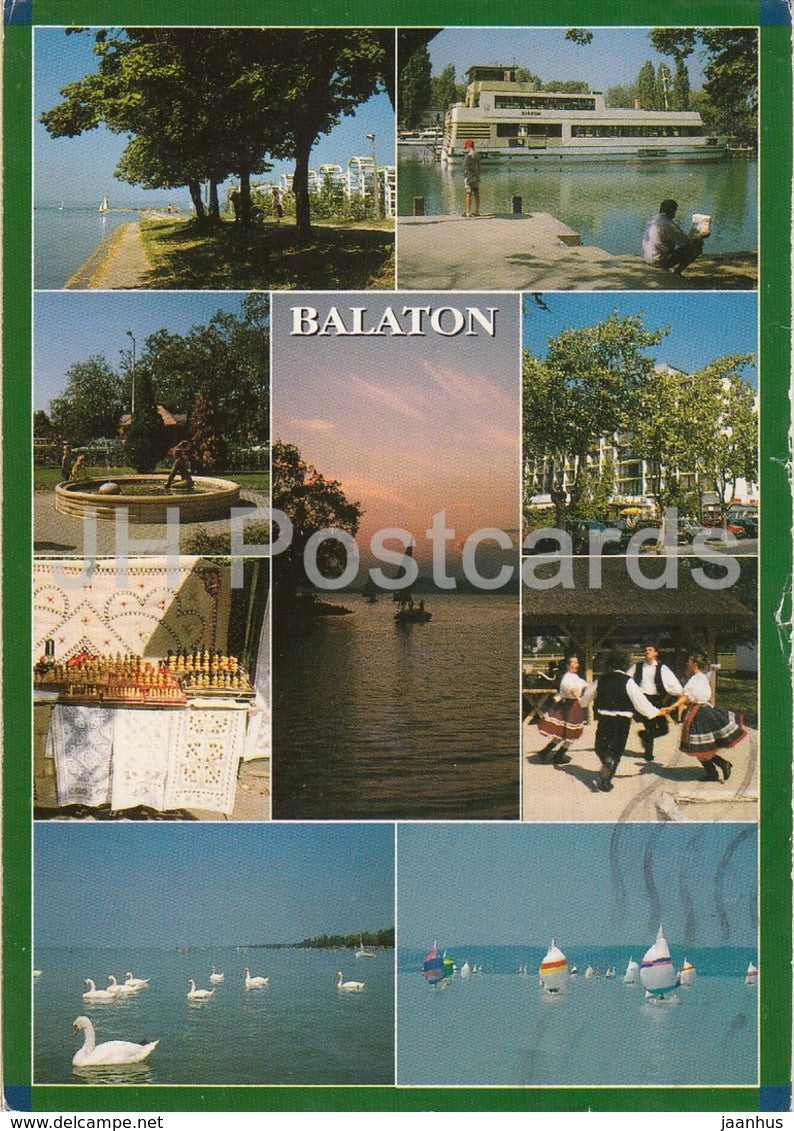 Balaton - swan - folk dance - sailing boat - multiview - 1998 - Hungary - used - JH Postcards