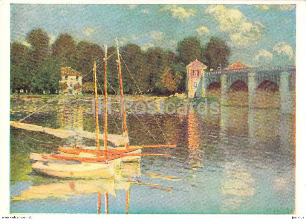 painting by Claude Monet - Railway Bridge at Argenteuil - sailing boat - French art - England - unused - JH Postcards