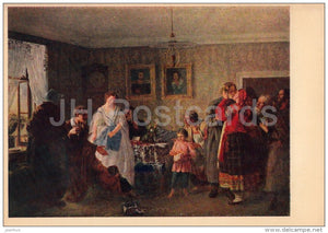 painting by G. Myasoyedov - The Landlord Congratulates the Newly-Weds - Russian art - 1961 - Russia USSR - unused - JH Postcards