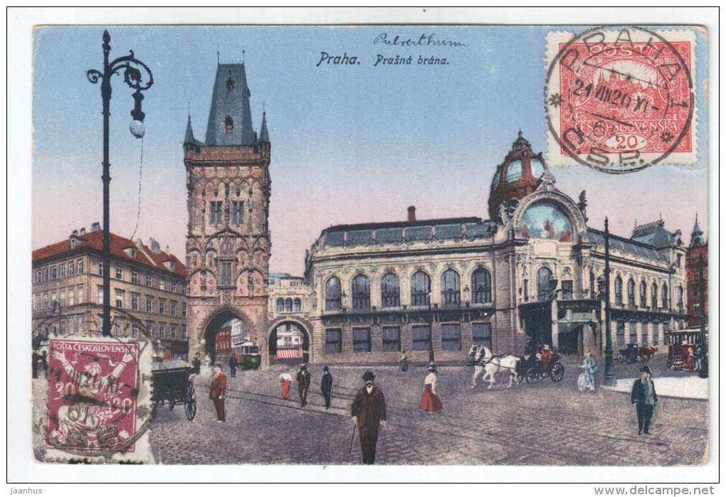 Prasna Brana - Powder Tower - Praha - Czech Republik - old postcard - sent to Estonia 1920 - special seal ! - used - JH Postcards
