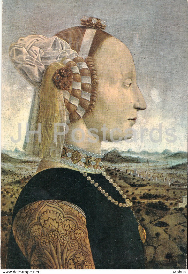 painting by Piero della Francesca - Battista Sforza Duchessa d'Urbino - Italian art - 1978 - Italy - used - JH Postcards