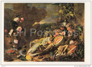 painting by Jan Davidsz de Heem - Fruits and Vase with Flowers , 1655 - Dutch art - Russia USSR - unused - JH Postcards