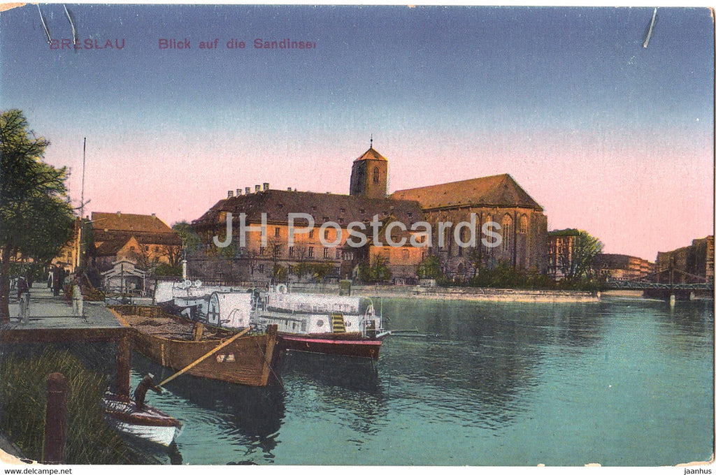 Breslau - Wroclaw - Blick auf die Sandinsel - boat - 152 - old postcard - Poland - unused - JH Postcards