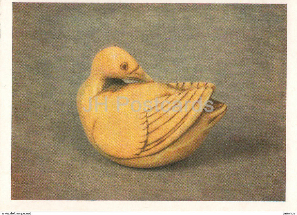 Netsuke - Duck cleaning feathers - ivory - Japanese art - 1987 - Russia UUSR - unused - JH Postcards