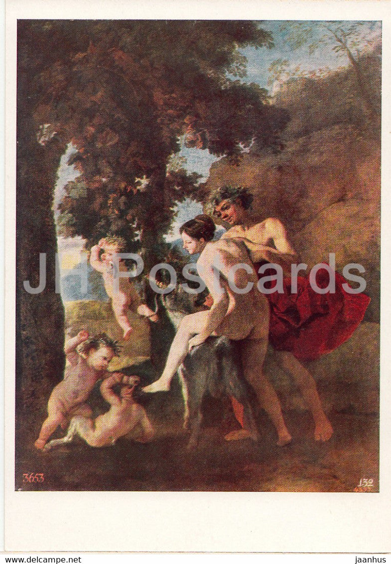 painting by Nicolas Poussin - Bacchante and Satyr - nude - naked - French art - 1966 - Russia USSR - unused - JH Postcards
