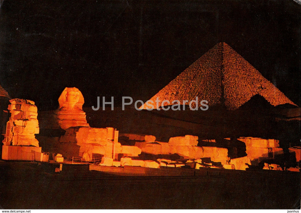 Sound and Light at the Pyramids of Giza - Sphinx - 1986 - Egypt - used - JH Postcards