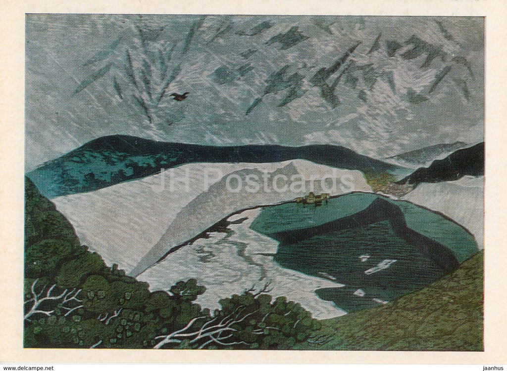 painting by Fumio Kitaoka -Mountain Lake in the Winter , 1970 - Japanese art - 1974 - Russia USSR - unused - JH Postcards