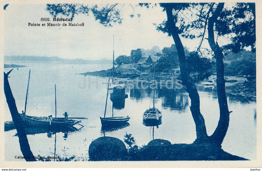 Benodet - Pointe et Manoir de Malakoff - 6902 - boat - old postcard - France - unused - JH Postcards