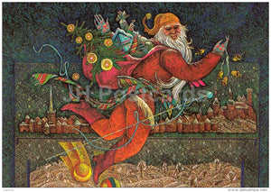 New Year Greeting card by V. Stanishevski - Santa Claus - Gifts - 1985 - Estonia USSR - used - JH Postcards