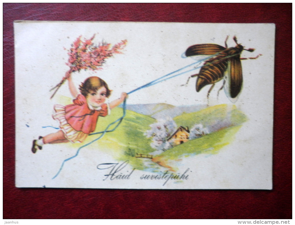 Pentecost Greeting Card - girl - beetle - WO 1235 - circulated in Estonia 1937 , Tallinn - Estonia - used - JH Postcards