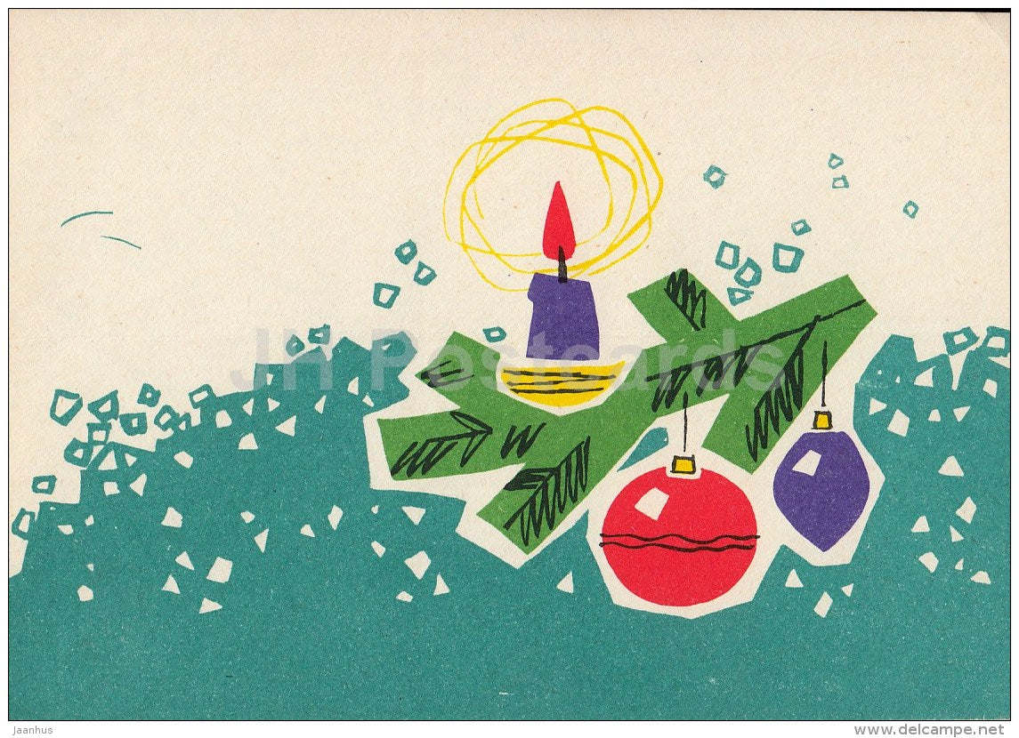 New Year Greeting card by L. Härm - candle - decorations - 1965 - Estonia USSR - used - JH Postcards